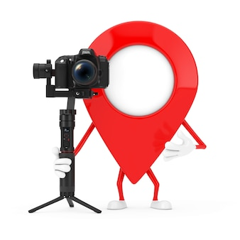 Map pointer pin character mascot with dslr or video camera gimbal stabilization tripod system on a white background. 3d rendering