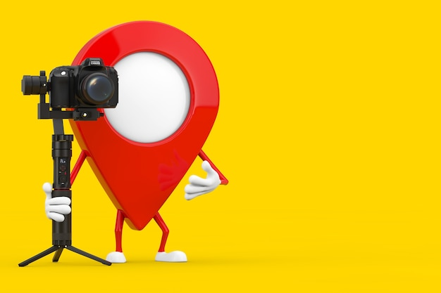 Map pointer pin character mascot with dslr or video camera gimbal stabilization tripod system on a yellow background. 3d rendering