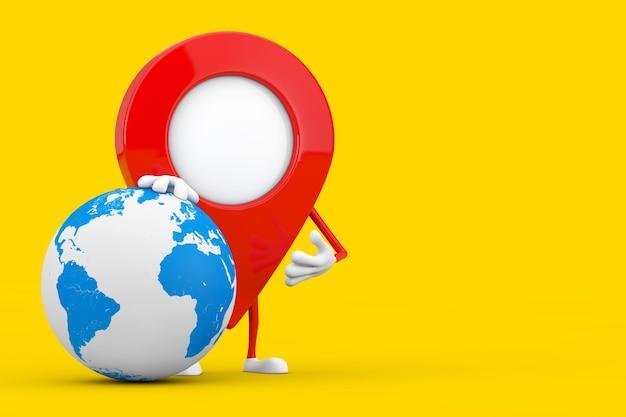 노란색 배경에 지구 글로브와 포인터 핀 캐릭터 마스코트를 매핑하십시오. 3d 렌더링