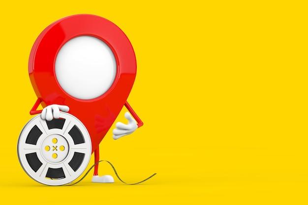 Талисман характера pin указателя карты с лентой кино вьюрка фильма на желтой предпосылке. 3d рендеринг