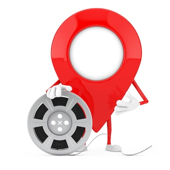 Map pointer pin character mascot with film reel cinema tape on a white background. 3d rendering