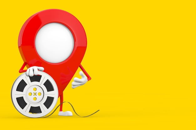 Map pointer pin character mascot with film reel cinema tape on a yellow background. 3d rendering