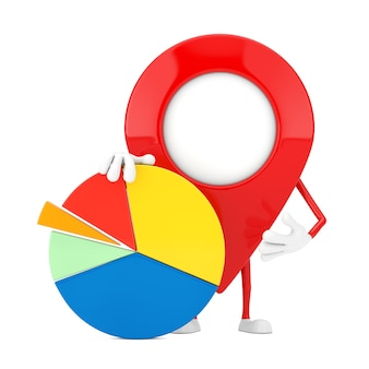 Map pointer pin character mascot with info graphics business pie chart on a white background. 3d rendering