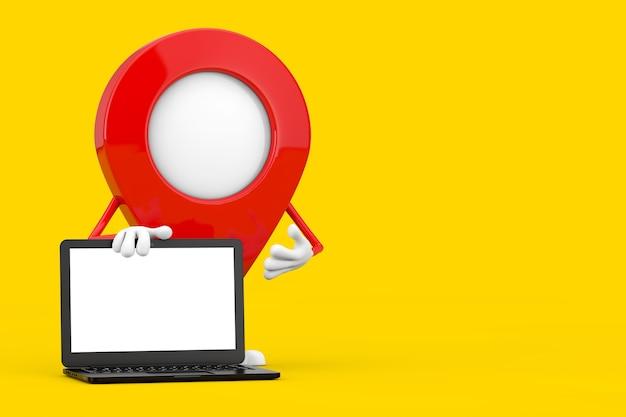 Талисман характера pin указателя карты с тетрадью современного портативного компьютера и пустым экраном для вашего дизайна на желтом фоне. 3d рендеринг