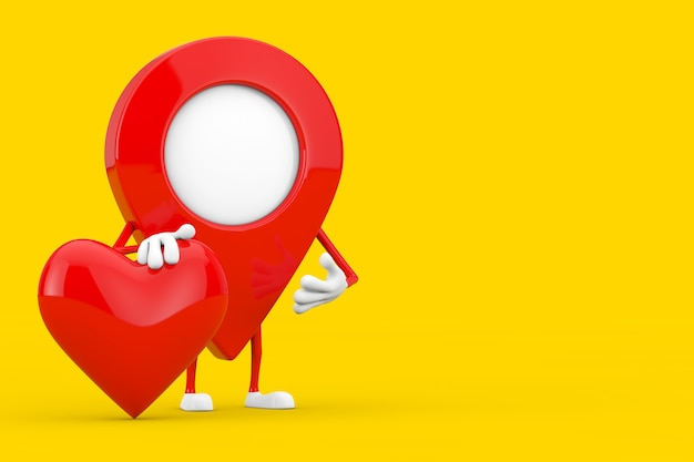 Map pointer pin character mascot with red heart on a yellow background. 3d rendering