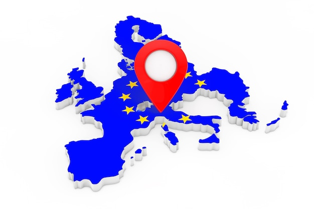 白い背景に欧州連合の旗が付いている地図上の地図ポインターピン。 3dレンダリング