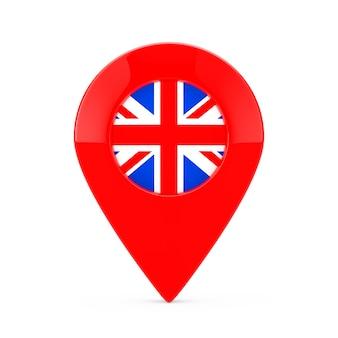 Карта указатель pin с флагом соединенного королевства на белом фоне. 3d рендеринг