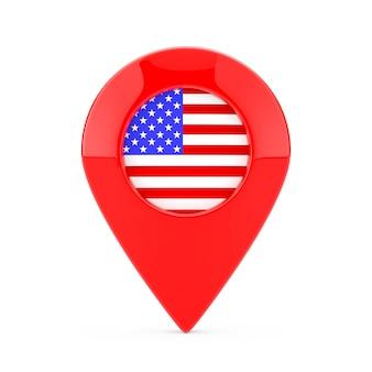 白い背景の上のアメリカ合衆国の旗とポインターピンをマップします。 3dレンダリング