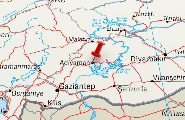 Red pin 3d 렌더링이 있는 adiyaman turkey를 보여주는 지도