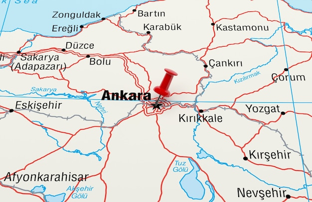 Map showing ankara turkey with a red pin 3d rendering