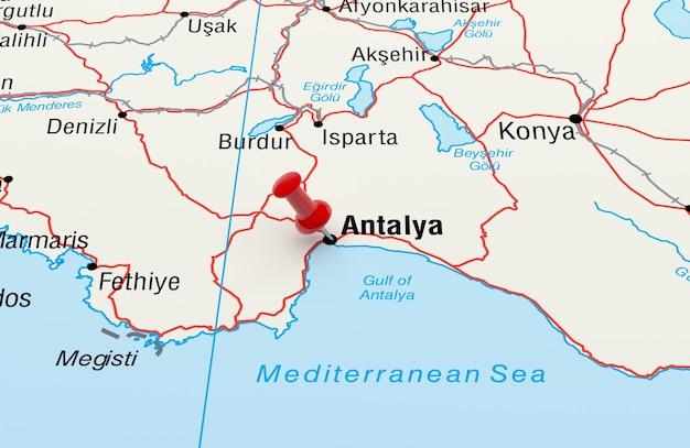 赤いピンでトルコのアンタルヤを示す地図。 3dレンダリング
