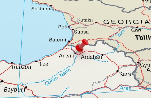 Red pin 3d 렌더링이 있는 artvin turkey를 보여주는 지도