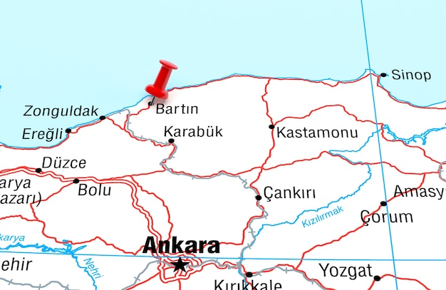 Map showing bartin turkey with a red pin 3d rendering