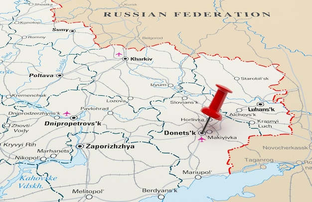 Map showing donetsk, ukraine with a red pin. 3d rendering
