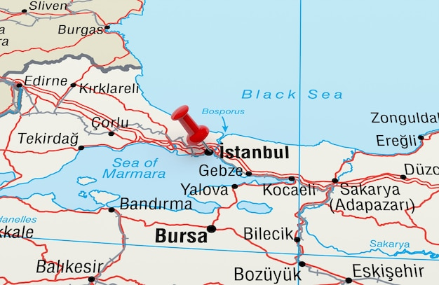 Map showing istanbul, turkey with a red pin. 3d rendering