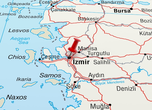 Map showing izmir, turkey with a red pin. 3d rendering