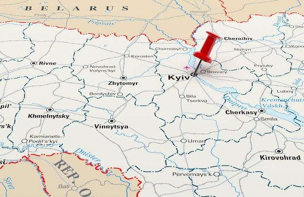 Map showing kiev, ukraine with a red pin. 3d rendering