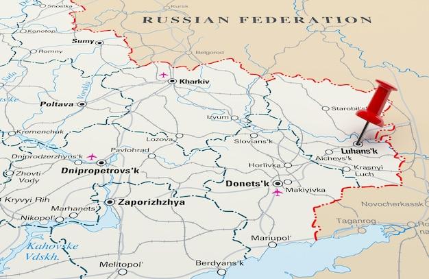 Карта, показывающая луганск, украина, с красной булавкой. 3d-рендеринг