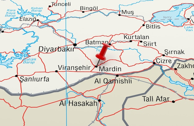 빨간색 핀이 있는 터키 마르딘을 보여주는 지도. 3d 렌더링