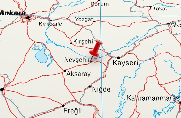 Map showing nevsehir, turkey with a red pin. 3d rendering