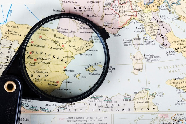 Map of spanish cities seen through magnifying glass