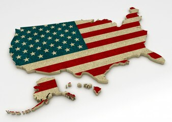 Map with the Flag of the United States of America on a white background