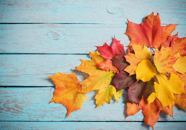 Кленовые листья на синем деревянном столе