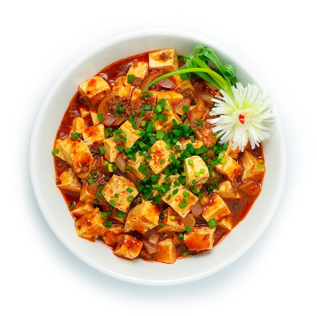 Mapo tofu stir with ground beef spicy sauce korean