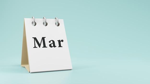 紙の机のカレンダーの3dレンダリングの3月