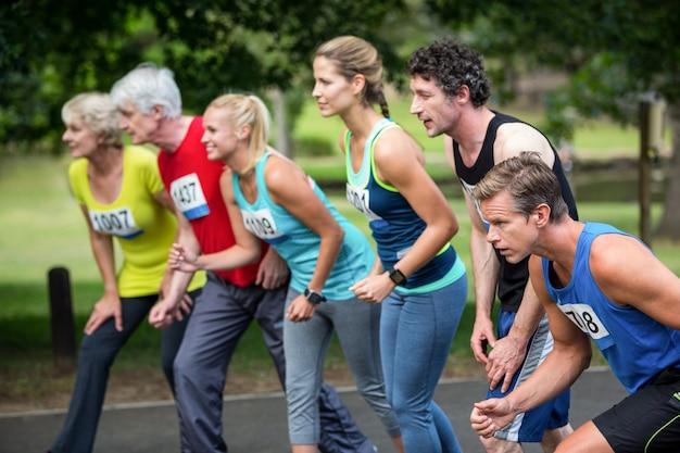 Marathon athletes on the starting line