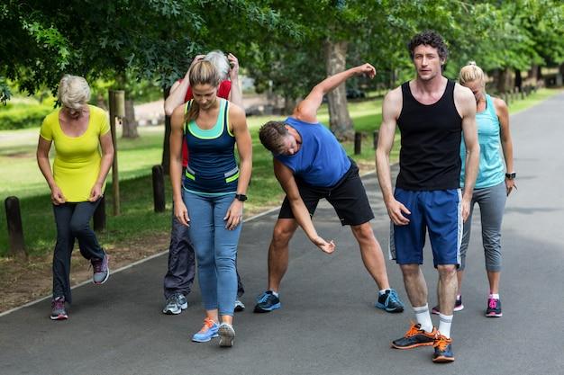 Marathon athletes stretching