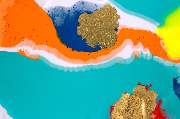 大理石の抽象的なアクリルアートワークテクスチャ鮮やかな液体