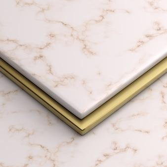 大理石と金のスタンド3 dレンダリング画像