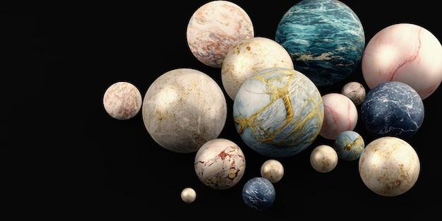 Мраморный шар стеклянный шар фон мраморные бусы 3d иллюстрации