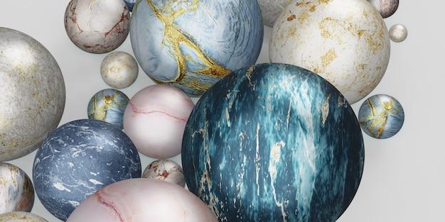 大理石のボールガラスボールの背景大理石のビーズ3dイラスト