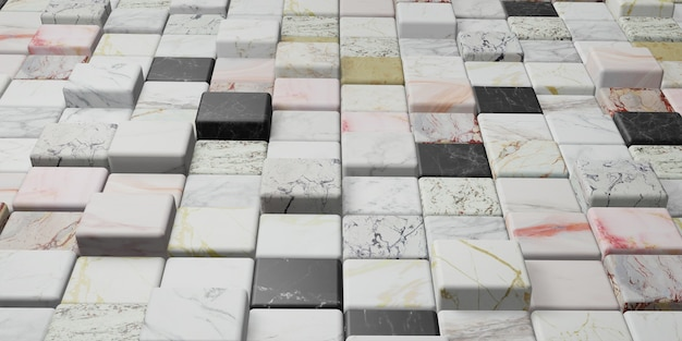 Marble block colorful marble texture wall 3d illustration