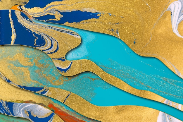 골드 그라데이션 테두리와 대리석 파란색과 금색 추상적 인 배경