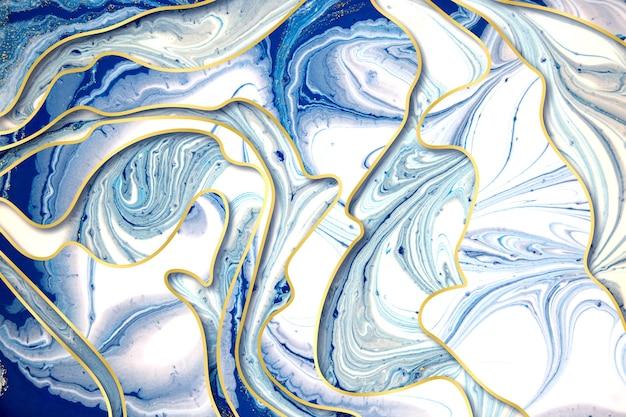 大理石の青と金の抽象的な背景と金のグラデーションの境界線