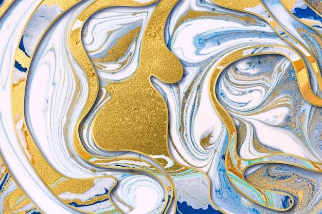 Мраморные синие чернила и золотая пыль абстрактный фон с золотыми градиентными границами