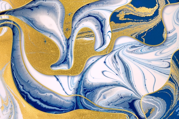 Marble blue ink and gold dust abstract background with gold gradient borders
