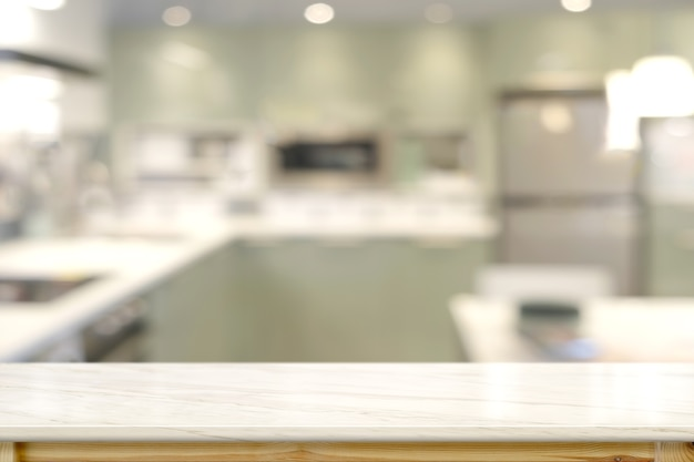 Marble countertops with modern kitchen room background.