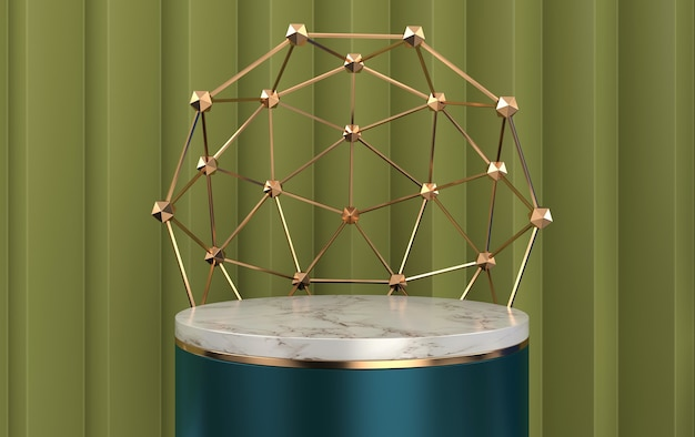 Marble cylinder pedestal inside the cage, abstract geometric shape group set, green background, round gold cage, 3d rendering, scene with geometrical forms, fashion minimalistic scene