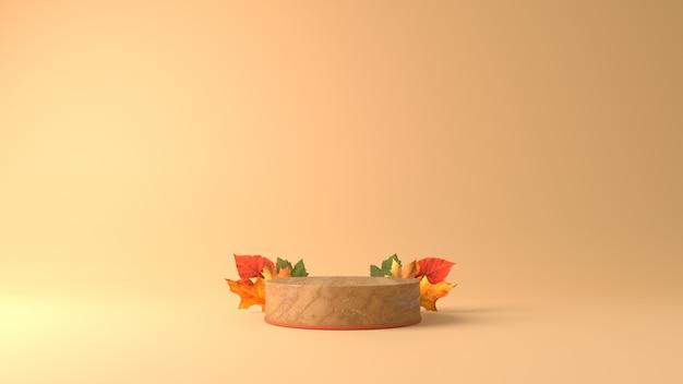 Мраморный цилиндр подиум с кленовыми листьями на фоне осенней темы