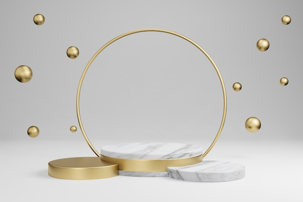 Marble cylindrical shapes, podium, platforms for product presentation, with gold object decoration. 3d rendering