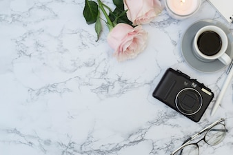 Marble desk with objects