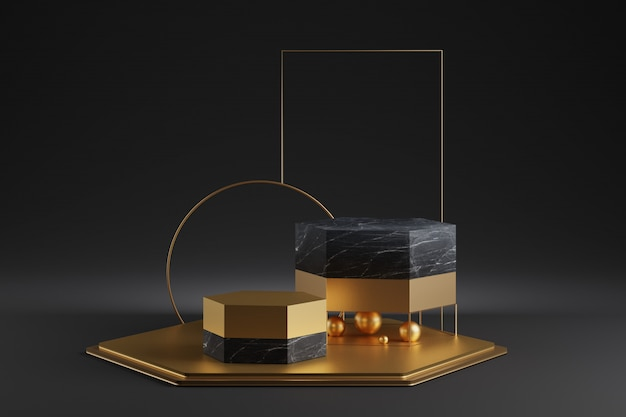 黄金の装飾が施された大理石の六角形の表彰台のモックアップ