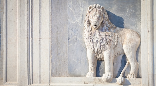 Marble lion on santissimi giovanni e paolo church in venice, italy