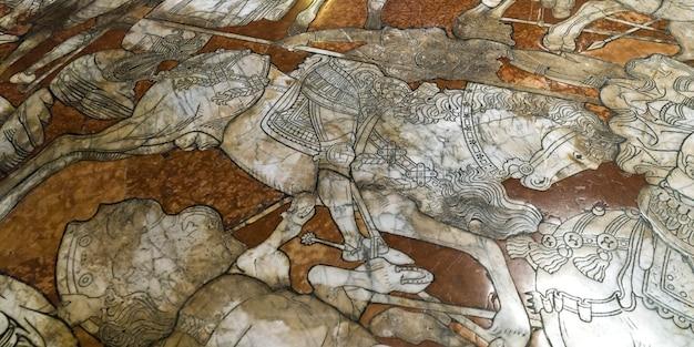 シエナ大聖堂、シエナ、トスカーナ、イタリアの大理石のモザイク床