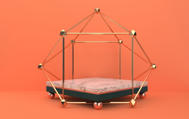 Marble pedestal inside the golden cage, abstract geometric shape group set, orange background, 3d rendering, scene with geometrical forms, fashion minimalistic scene