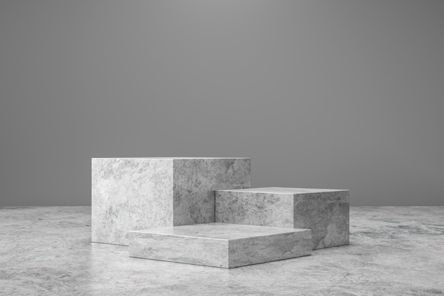 Marble pedestal or product display on luxury background with presentation concept. stone podium stage. 3d rendering.